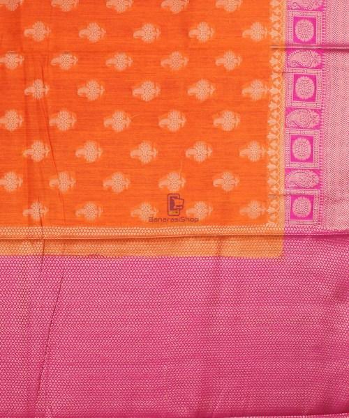 Pure Banarasi Muga Silk Saree in Orange and Pink 7