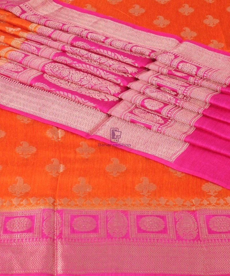 Pure Banarasi Muga Silk Saree in Orange and Pink 1