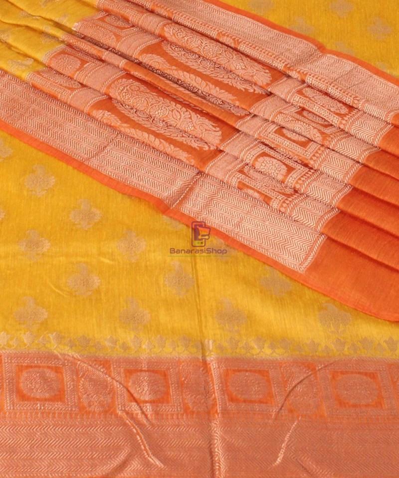 Pure Banarasi Muga Silk Saree in Yellow and Saffron Brown 1