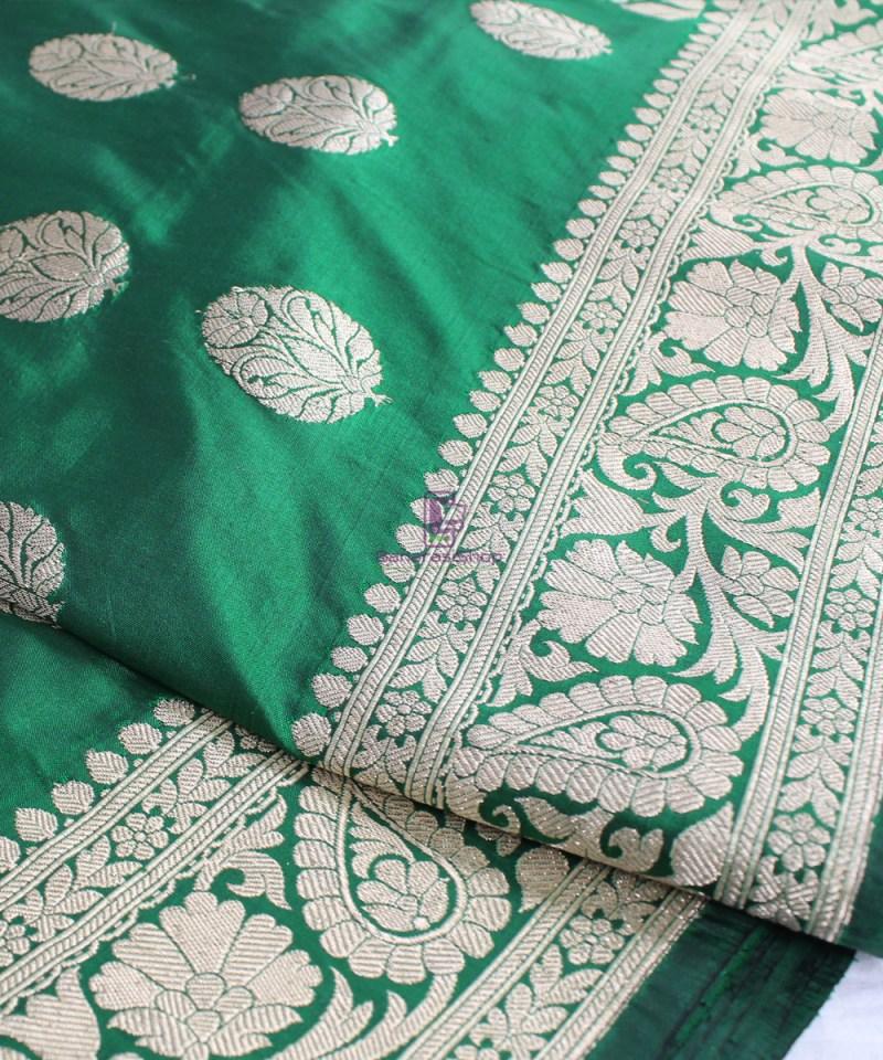 Handwoven Banarasi Katan Pure Silk Saree in Green 1
