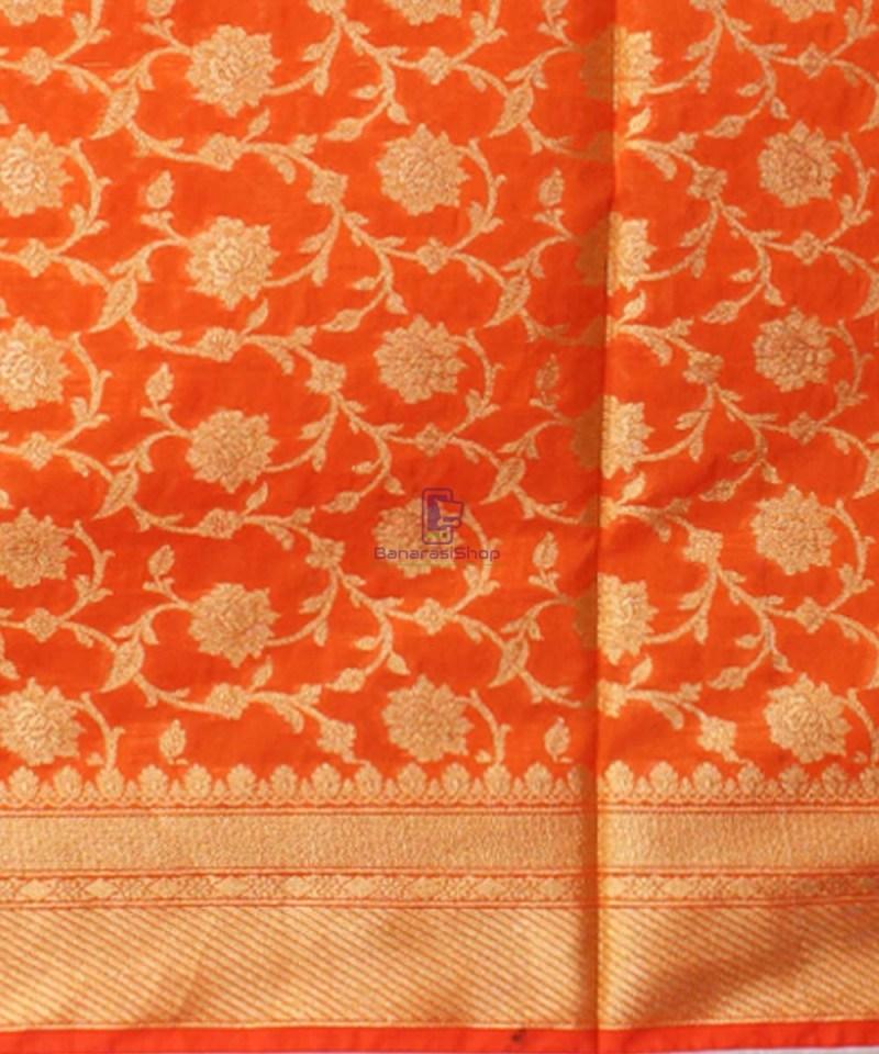 Woven Banarasi Art Silk Dupatta in Orange 3