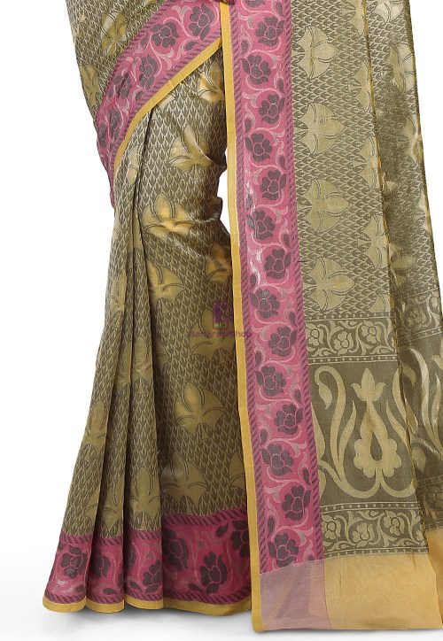 Woven Banarasi Cotton Silk Saree in Olive Green 6