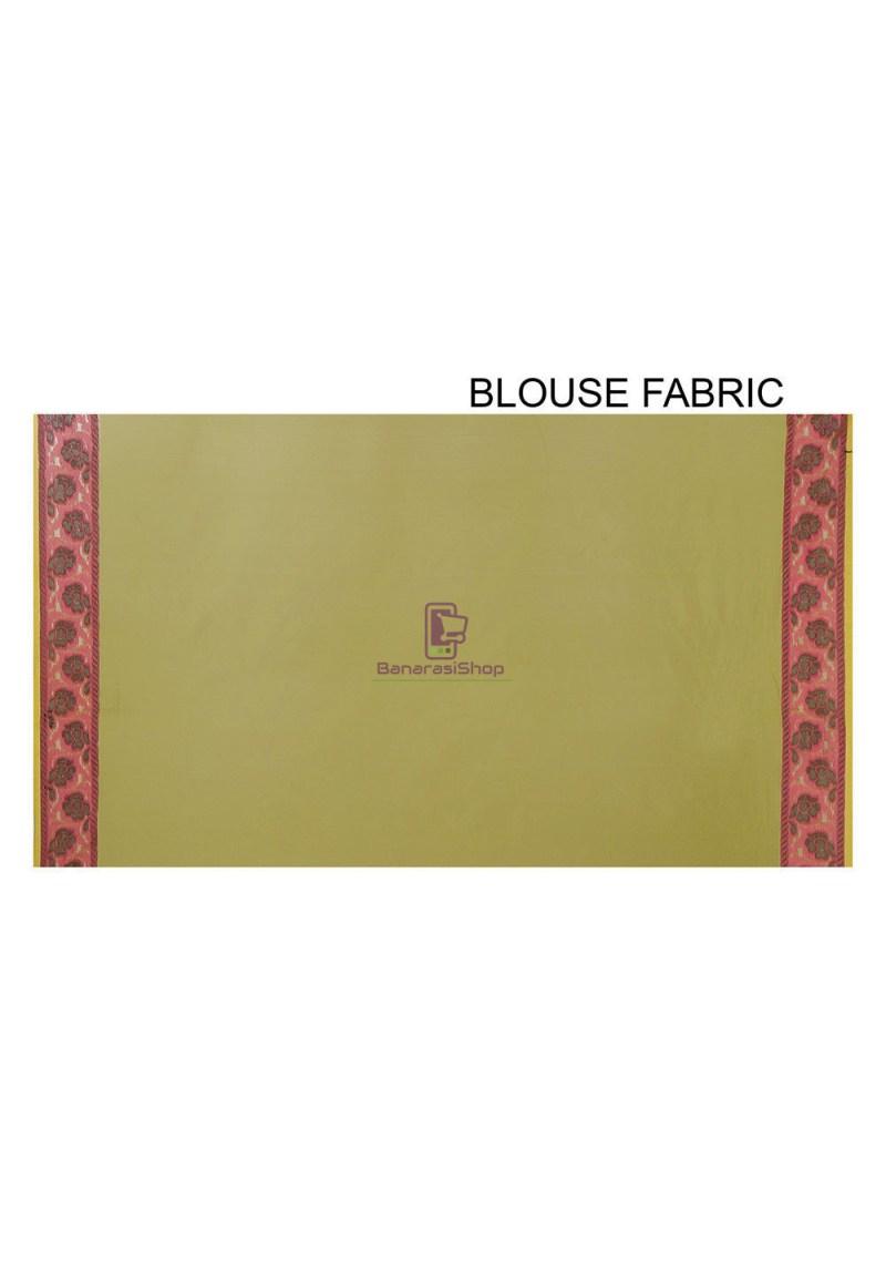 Woven Banarasi Cotton Silk Saree in Olive Green 4