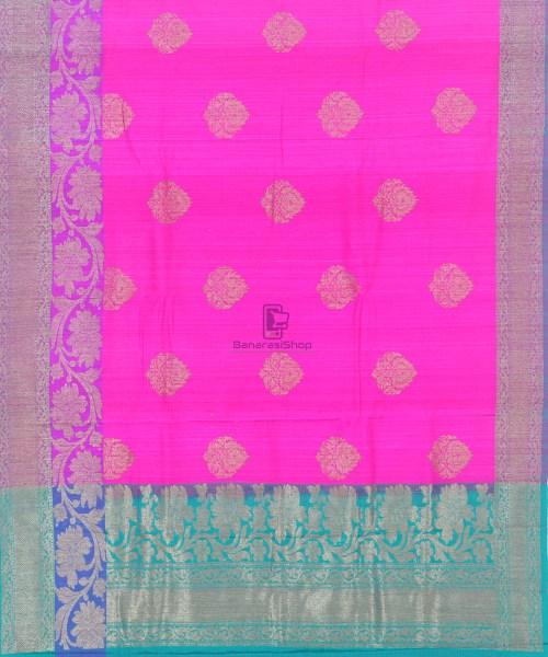 Banarasi Pure Handloom Dupion Silk Fuschia Pink Saree 5