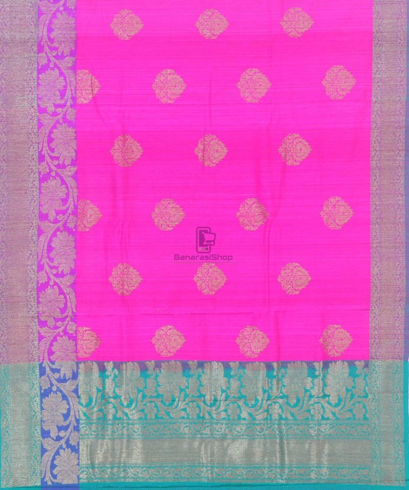 Banarasi Pure Handloom Dupion Silk Fuschia Pink Saree 2