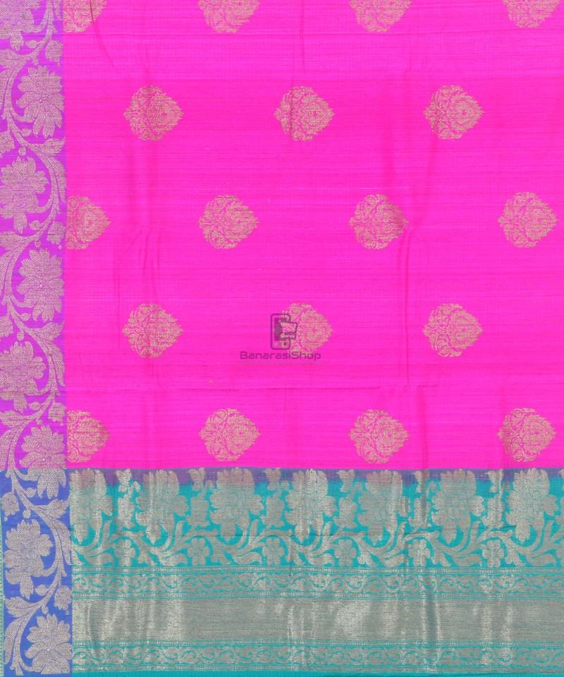 Banarasi Pure Handloom Dupion Silk Fuschia Pink Saree 3