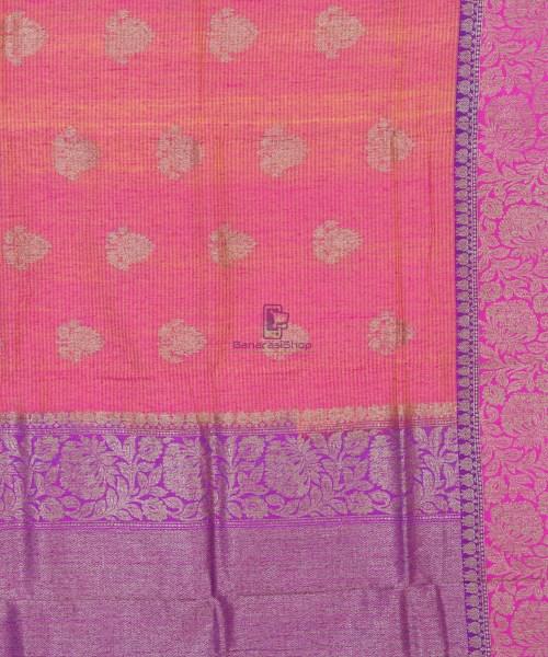 Banarasi Pure Handloom Dupion Silk Watermelon Pink Saree 5