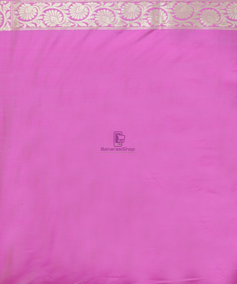 Pure Banarasi Uppada Silk Handwoven Saree in Taffy Pink 3