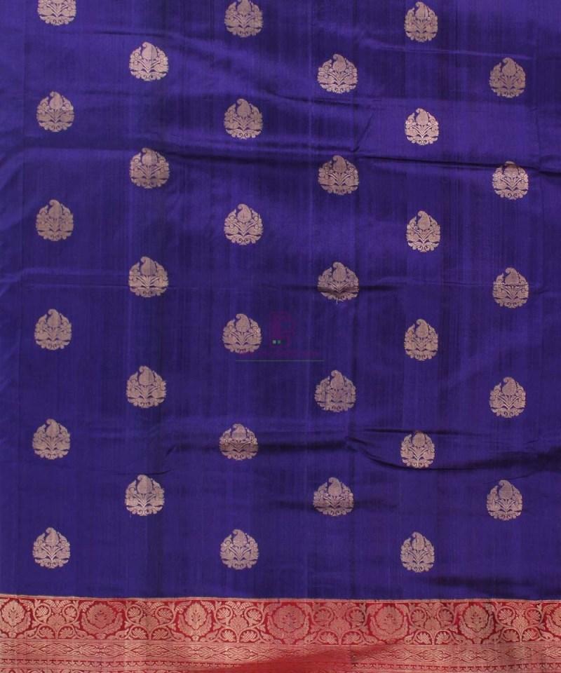 Pure Banarasi Tussar Silk Handwoven Double Shaded Saree in Blue 2