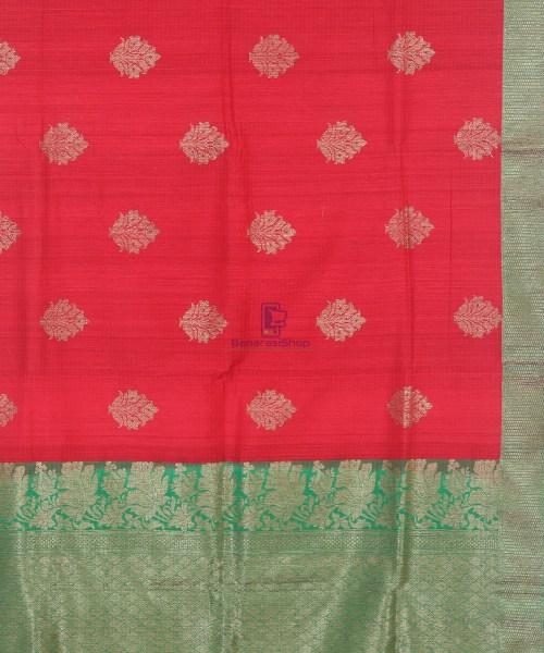 Banarasi Pure Handloom Dupion Silk Rose Red Saree 6
