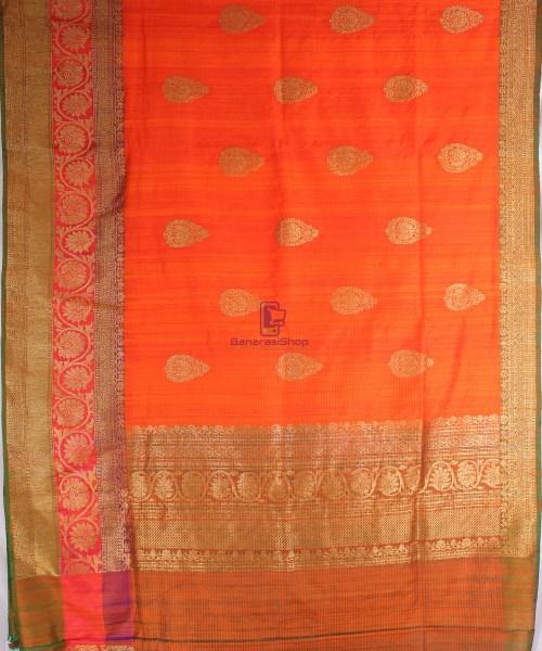 Handwoven Pure Banarasi Dupion Silk Saree in Orange 5