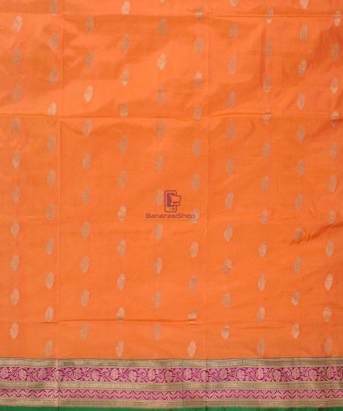 Banarasi Pure Katan Silk Handloom Saree in Orange 4