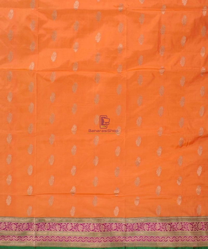 Banarasi Pure Katan Silk Handloom Saree in Orange 2