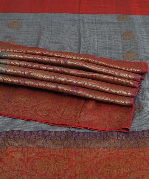 Banarasi Pure Handloom Dupion Silk Iris Blue Saree 7