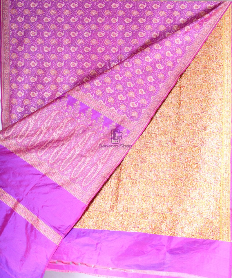 Handwoven Banarasi Jamdani Kataan Silk Saree in purple 2