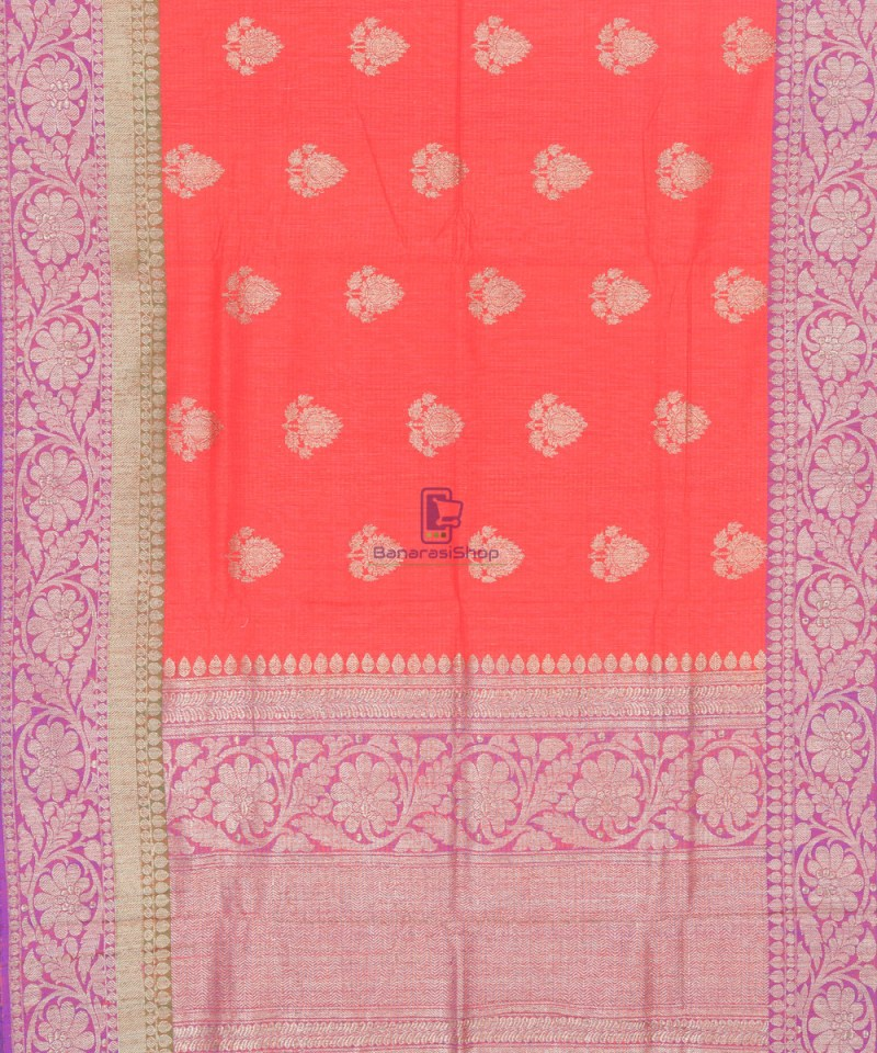 Banarasi Pure Handloom Dupion Silk Saree in Strawberry Red 2
