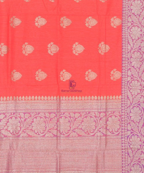 Banarasi Pure Handloom Dupion Silk Saree in Strawberry Red 6