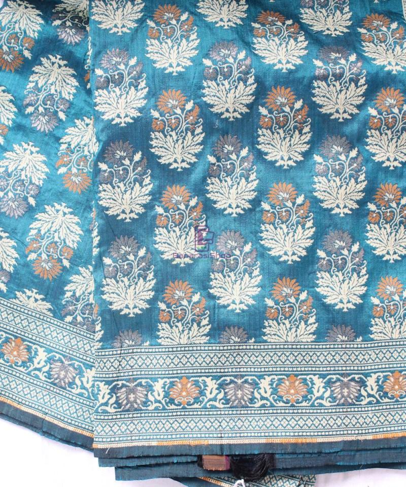 Handwoven Pure Banarasi Jamdani Katan Silk Saree in Sea Blue 1