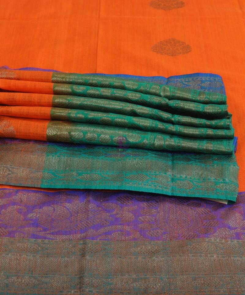 Banarasi Pure Handloom Dupion Silk Tiger Orange Saree 1