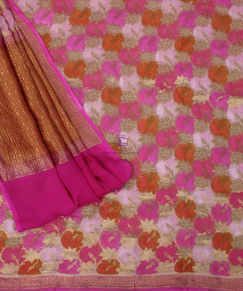 Pure Banarasi Handpainted Khaddi Georgette Silk Handloom Saree in Pink 5