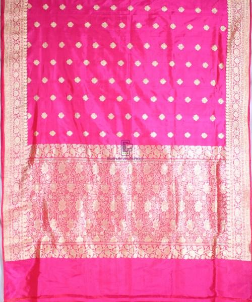 Handwoven Pure Katan Banarasi Silk Saree in Fuschia 5