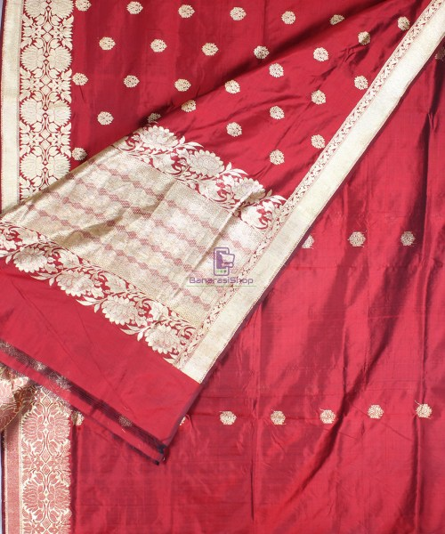 Handwoven Pure Katan Banarasi Silk Saree in Royal Red 4