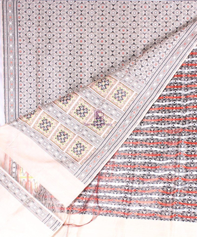 Handwoven Pure Banarasi Jamdani Katan Silk Saree in Natural Color 2