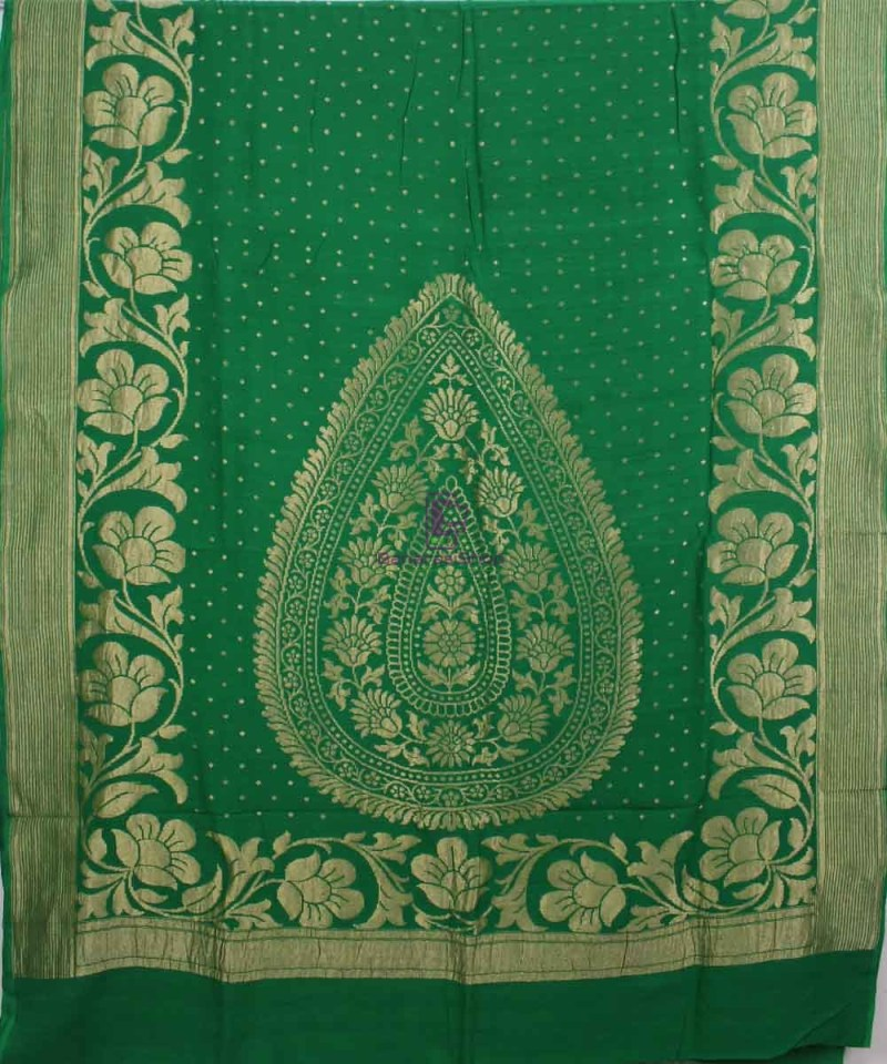 Pure Banarasi Muga Silk Handloom Saree in Dark Green 1