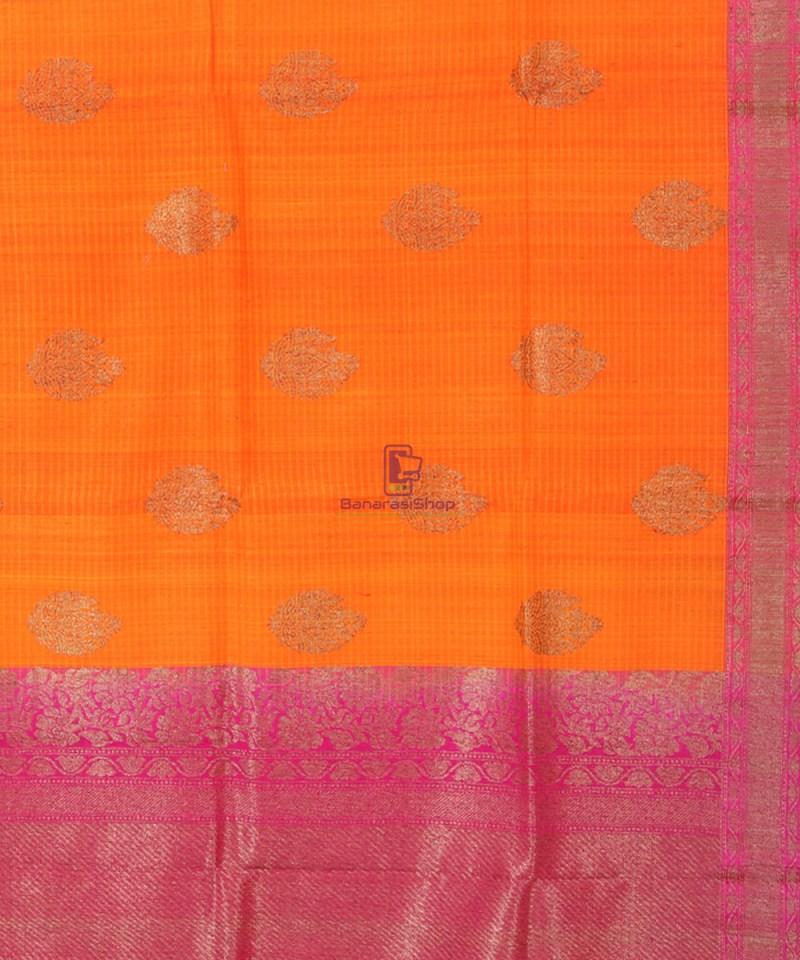 Banarasi Pure Handloom Dupion Silk Tangerine Orange Saree 2
