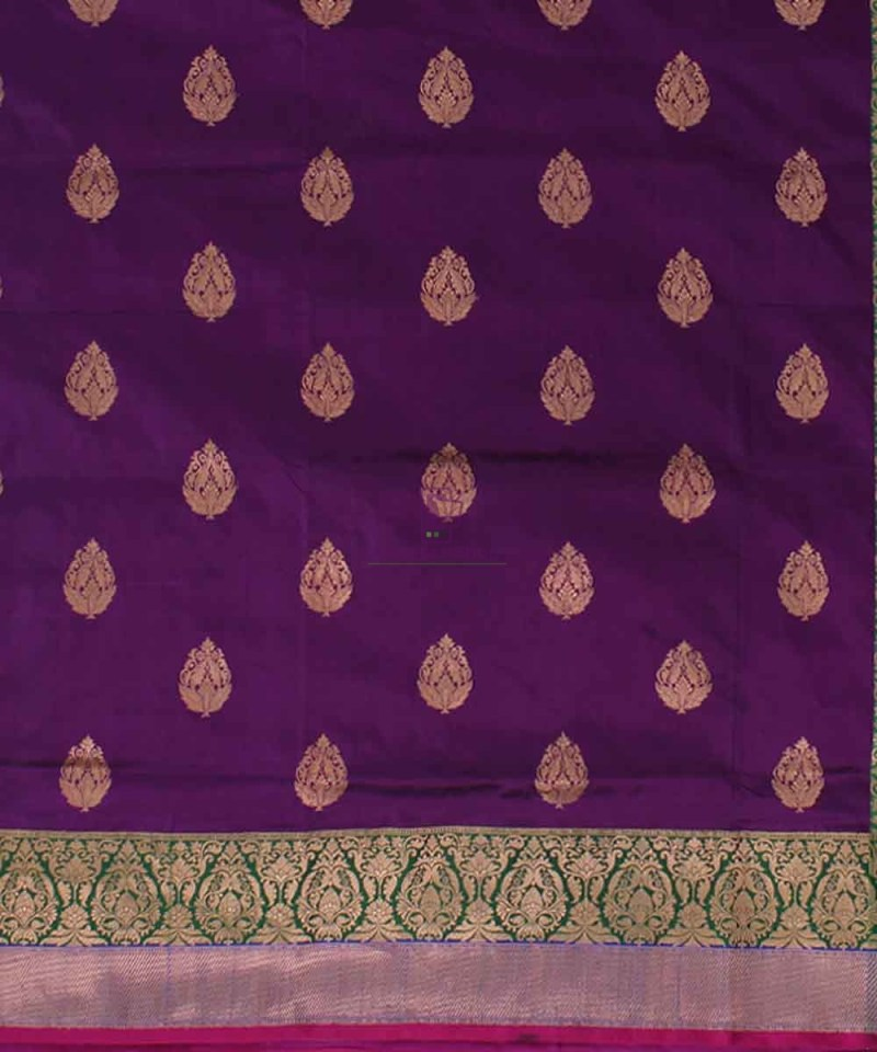 Banarasi Pure Katan Silk Handloom Plum Purple Saree 2