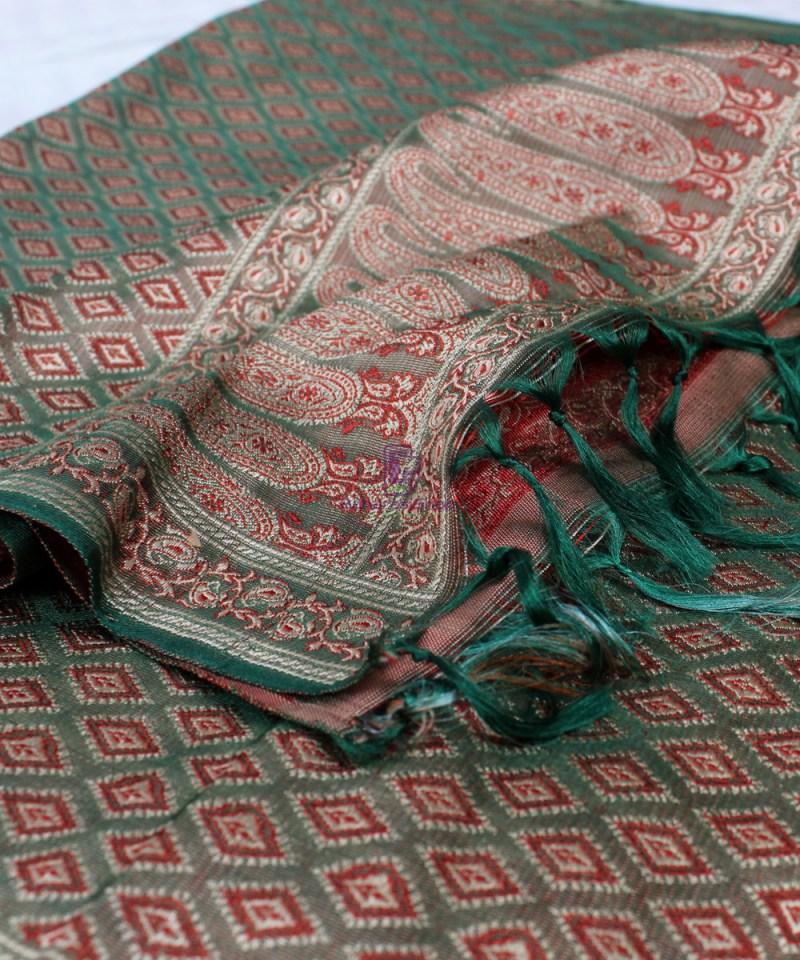 Handwoven Tanchoi Banarasi  Silk Stole in Basil Green 1