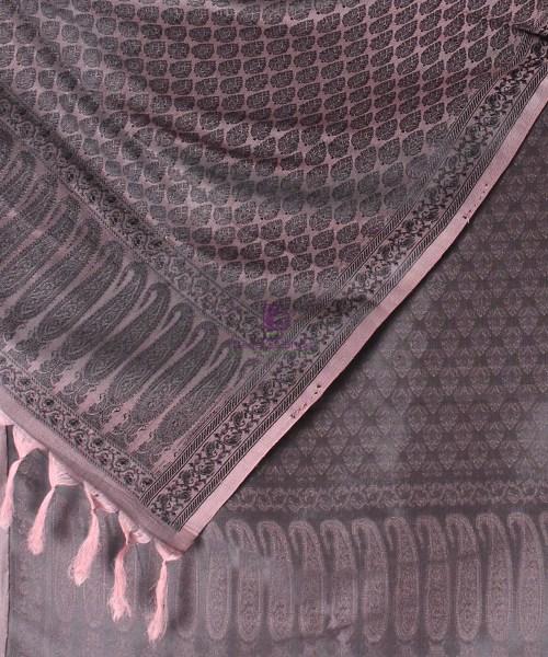 Handwoven Tanchoi Banarasi  Silk Stole in Ash Rose 4