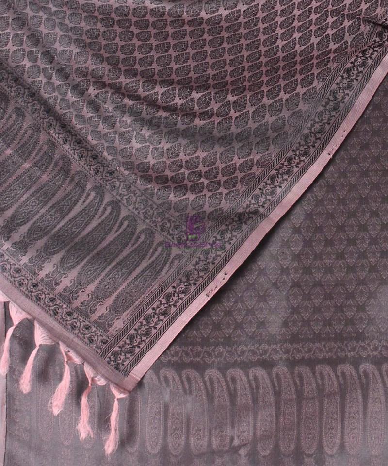 Handwoven Tanchoi Banarasi  Silk Stole in Ash Rose 2
