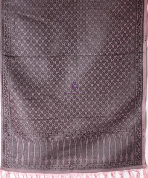 Handwoven Tanchoi Banarasi  Silk Stole in Ash Rose 5