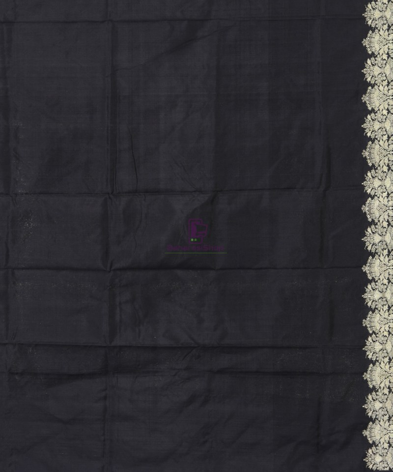 Banarasi Pure Katan Silk Handloom Jet Black Saree 3