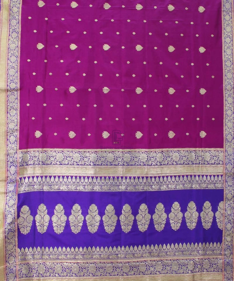 Banarasi Pure Katan Silk Handloom Magenta Saree 1