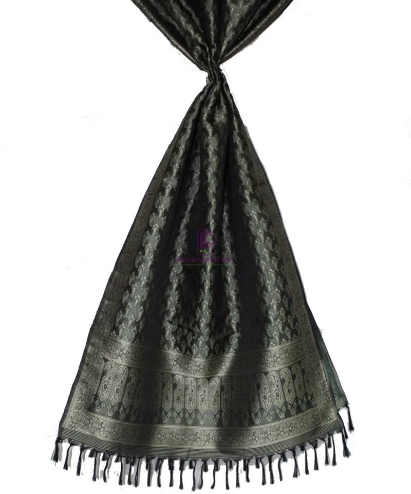 Handwoven Tanchoi Banarasi  Silk Stole in Black 2