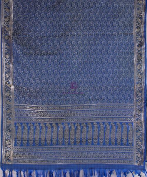 Handwoven Tanchoi Banarasi  Silk Stole in Royal Blue 5