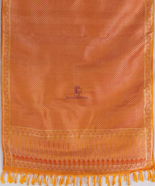Handwoven Tanchoi Banarasi  Silk Stole in Yellow Orange 5