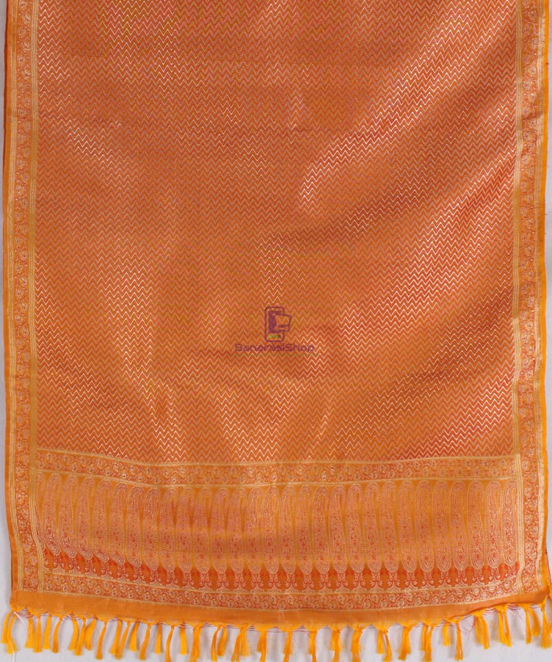 Handwoven Tanchoi Banarasi  Silk Stole in Yellow Orange 3