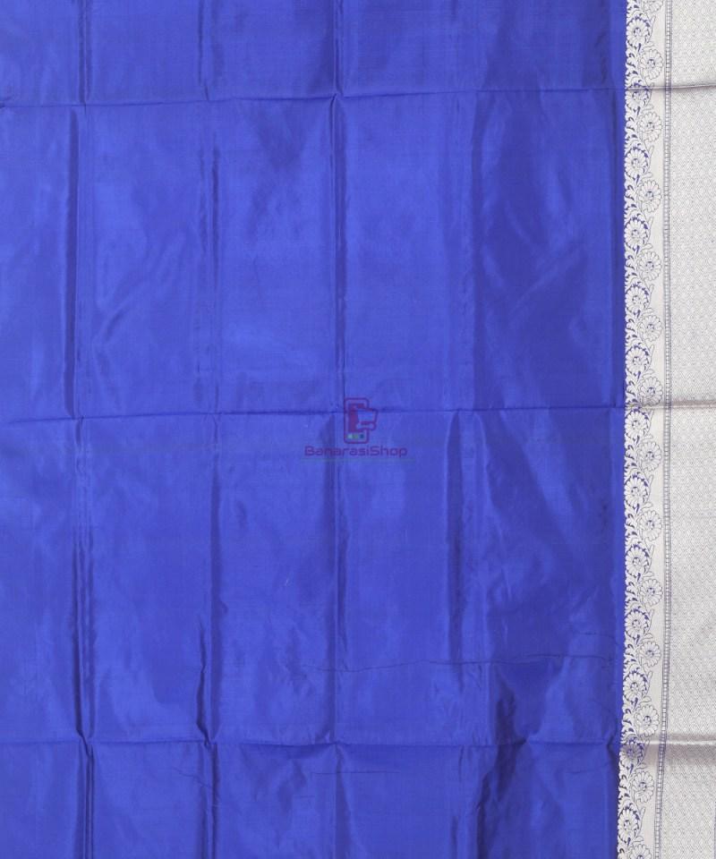 Banarasi Pure Katan Silk Handloom Cobalt Blue Saree 3