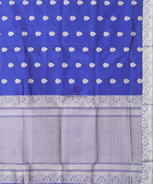 Banarasi Pure Katan Silk Handloom Cobalt Blue Saree 5