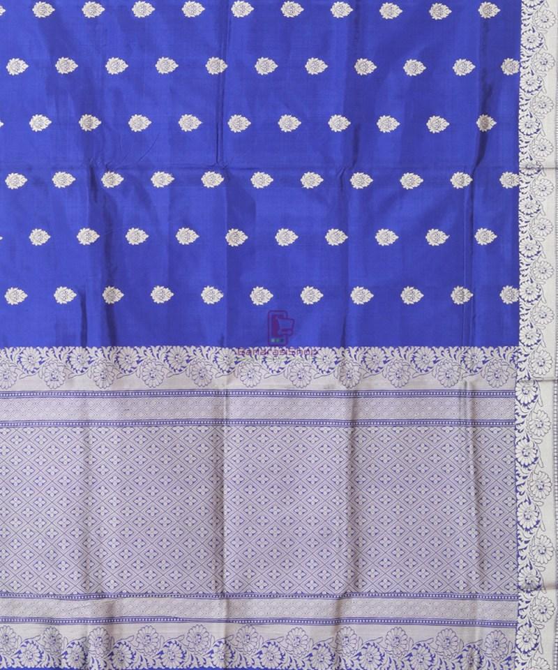 Banarasi Pure Katan Silk Handloom Cobalt Blue Saree 2