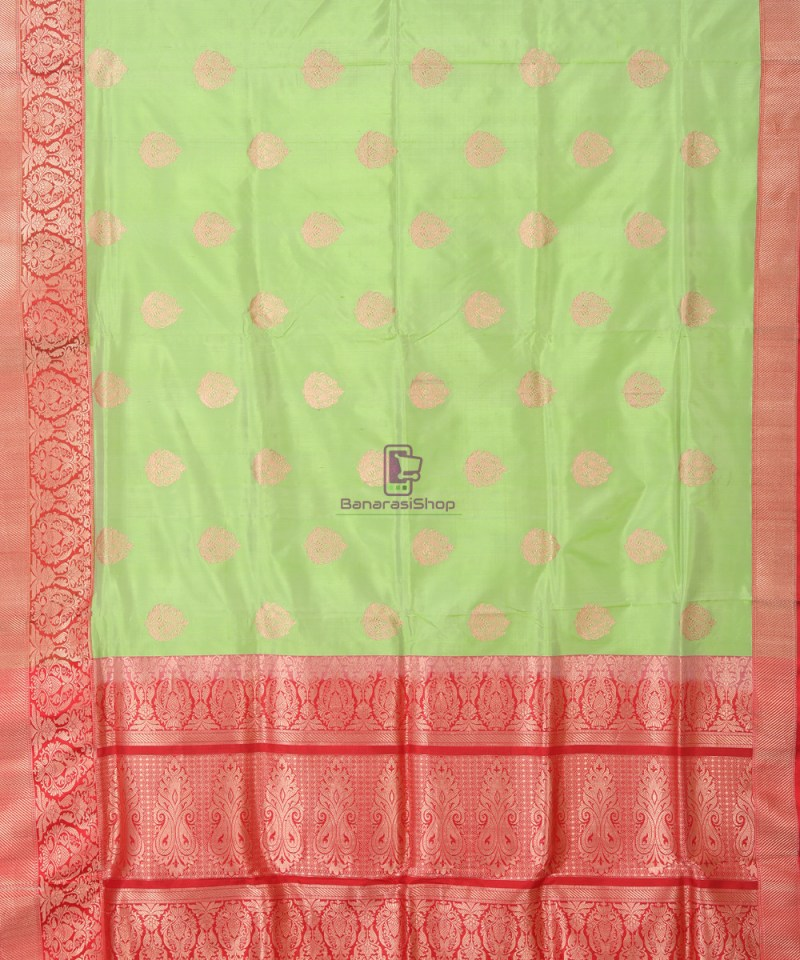 Banarasi Pure Katan Silk Handloom Lime Green Saree 1