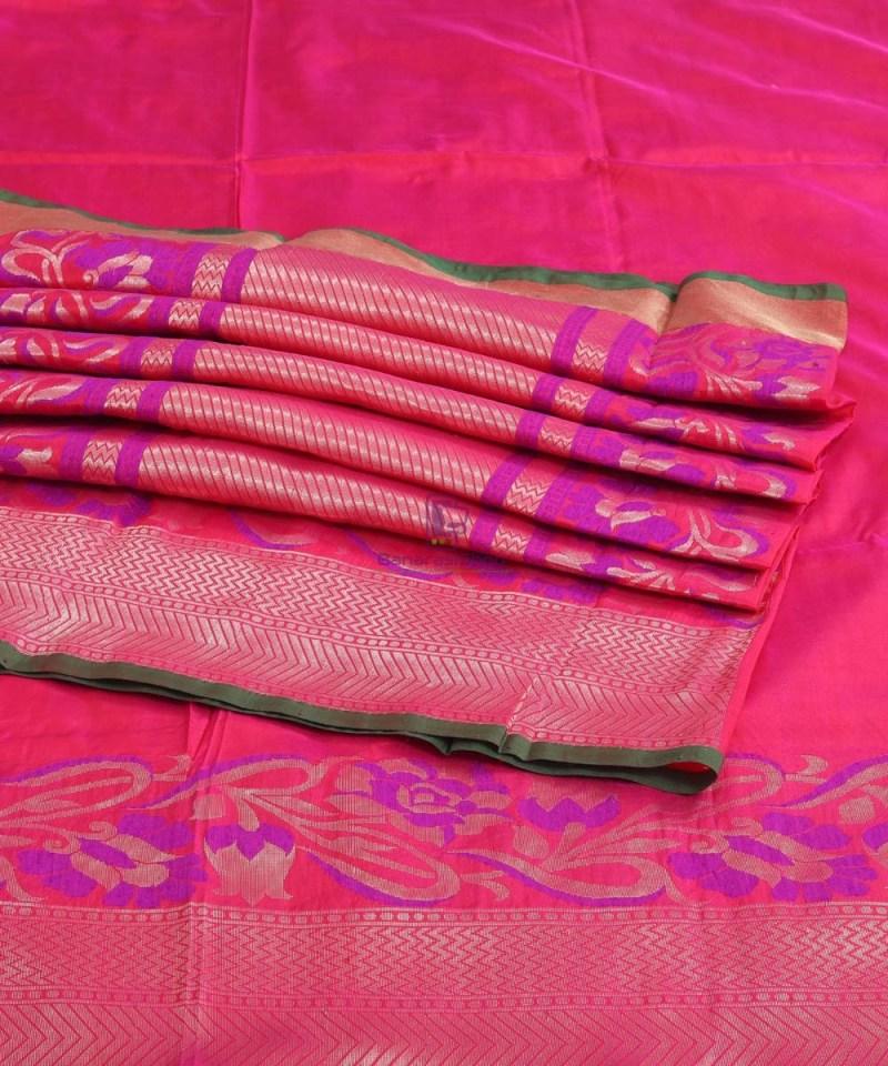 Banarasi Pure Katan Silk Handloom Strawberry Pink Saree 4