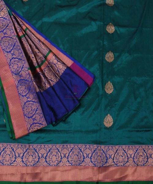 Banarasi Pure Katan Silk Handloom Green Saree 5