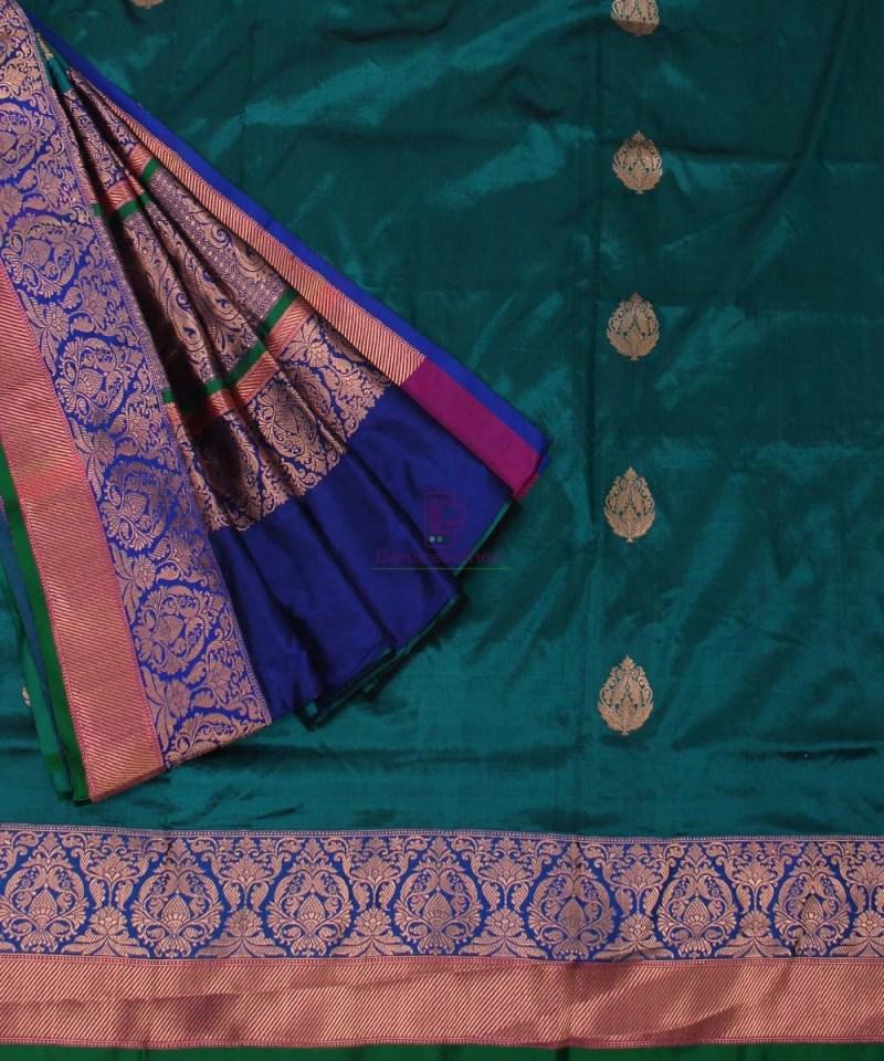 Banarasi Pure Katan Silk Handloom Green Saree 3