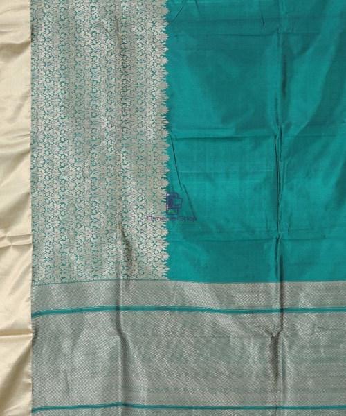 Banarasi Pure Katan Silk Handloom Pine Green Silk Saree 5