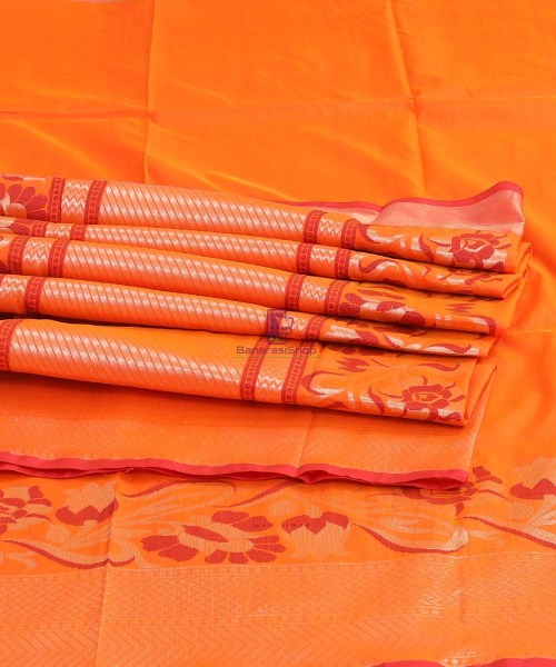 Banarasi Pure Katan Silk Handloom Orange Saree 6