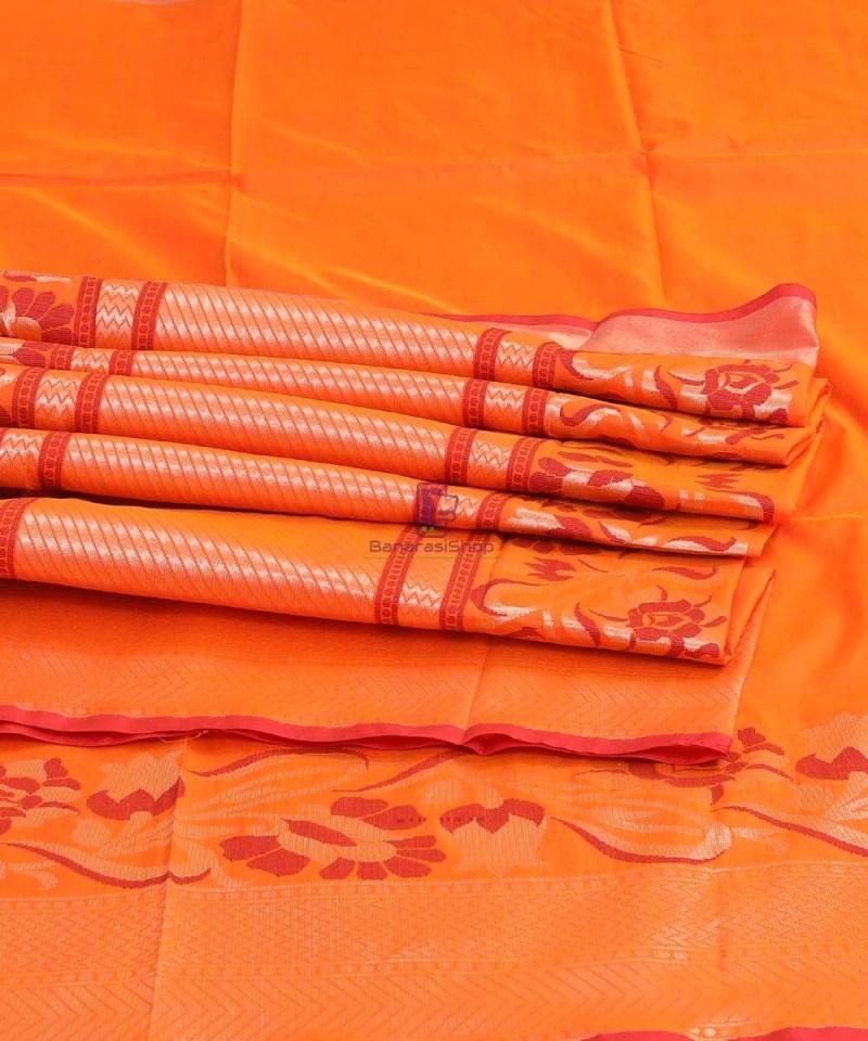 Banarasi Pure Katan Silk Handloom Orange Saree 3